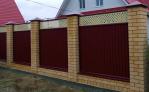 Забор Премиум RAL 6005 столбы кирпич